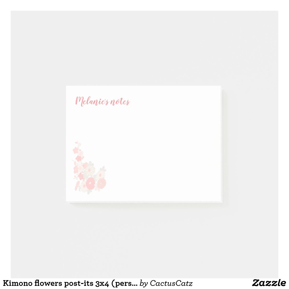 Kimono flowers post-its 3x4 (personalize) post-it notes