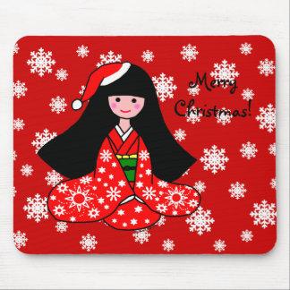 Kimono Girl Christmas Cartoon Snowflakes Mouse Pad