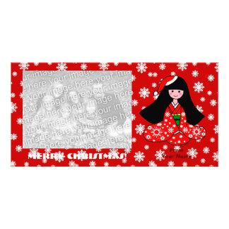 Kimono Girl Christmas Cartoon Snowflakes Photo Card Template