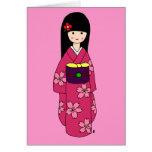 Kimono Girl Sakura Pink Cartoon Greeting Cards