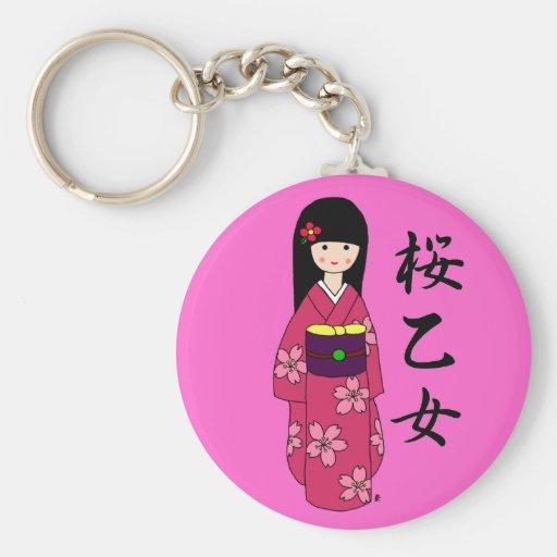Kimono Girl Sakura Pink Cartoon Keychains