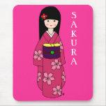 Kimono Girl Sakura Pink Cartoon Mousepads