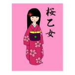 Kimono Girl Sakura Pink Cartoon Postcards