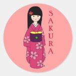 Kimono Girl Sakura Pink Cartoon Stickers