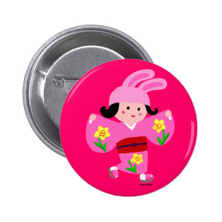 Kimono Girl Usagi Pink Cartoon Button