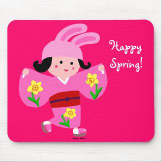 Kimono Girl Usagi Pink Cartoon Mouse Pad