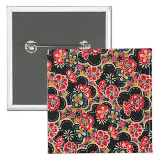Kimono multicolor de las flores del diseño de Orig Pin Cuadrado