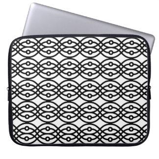 Kimono print, black on white computer sleeve