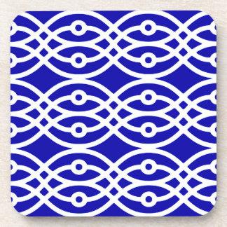 Kimono print, cobalt blue and white drink coasters