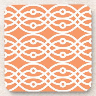 Kimono print, coral orange and white beverage coasters