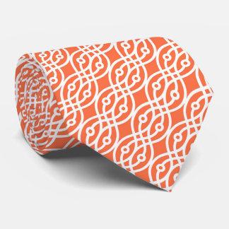 Kimono print, coral orange and white neck tie