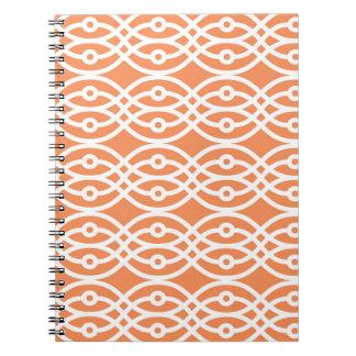 Kimono print, coral orange and white spiral notebook