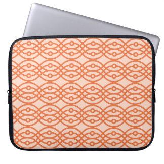 Kimono print, coral orange computer sleeves