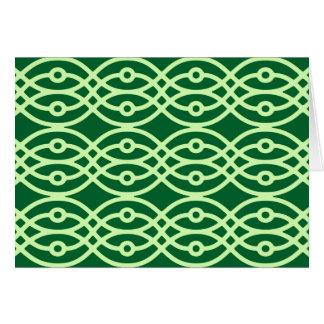 Kimono print, dark & light green card