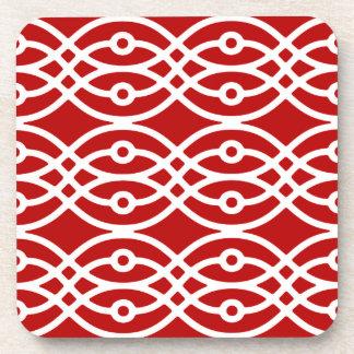 Kimono print, dark red and white coasters