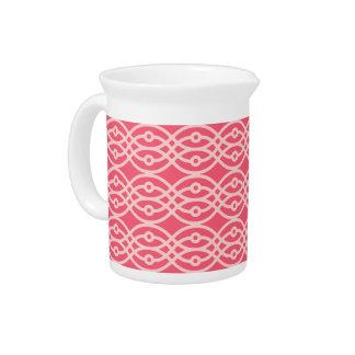 Kimono print, deep coral pink beverage pitcher