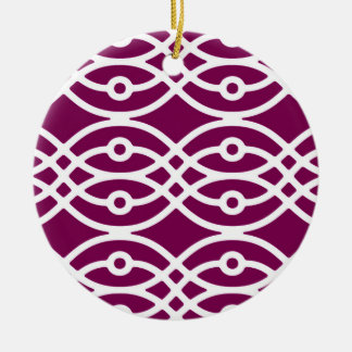 Kimono print, eggplant purple and white ceramic ornament