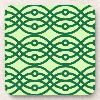 Kimono print, light & dark green beverage coaster