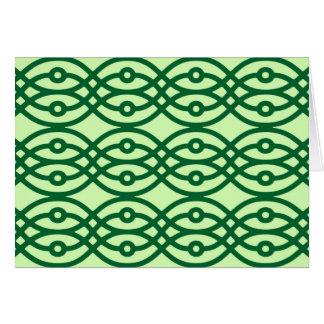 Kimono print, light & dark green card