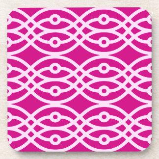 Kimono print, magenta and pink drink coasters
