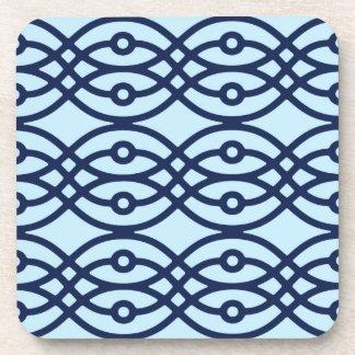 Kimono print, navy and light blue beverage coasters