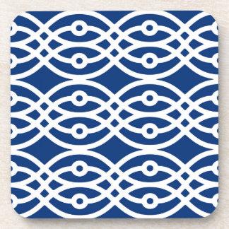 Kimono print, navy blue and white drink coaster