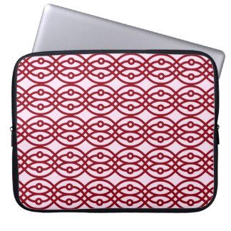 Kimono print, pink and burgundy laptop sleeve