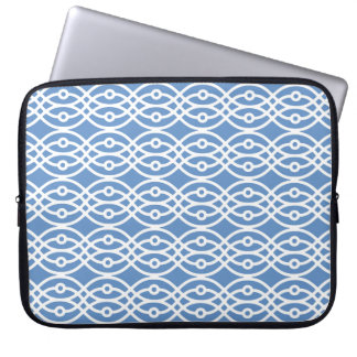 Kimono print, sky blue and white computer sleeve