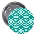 Kimono print, turquoise and aqua 3 inch round button