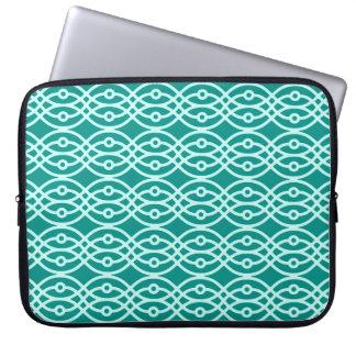 Kimono print, turquoise and aqua computer sleeve