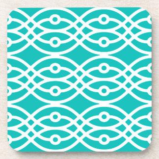 Kimono print, turquoise and white coasters