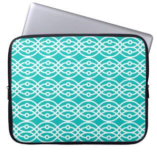 Kimono print, turquoise and white computer sleeve