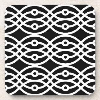 Kimono print, white on black coaster