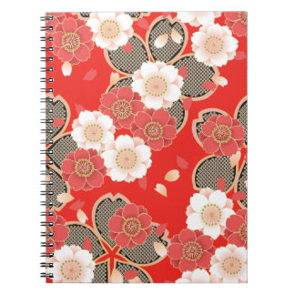 Kimono rojo y blanco del japonés de Sakura Libro De Apuntes