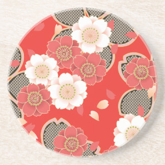 Kimono rojo y blanco del japonés de Sakura Posavasos Diseño