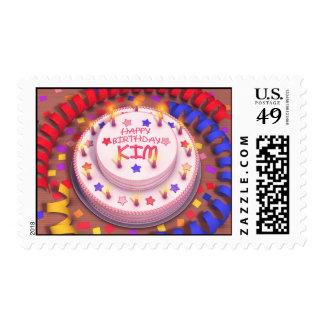 Kim's Birthday Cake Postage Stamp