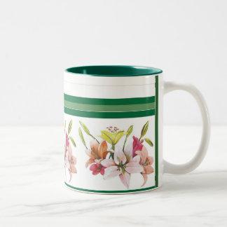 kims lilies Two-Tone coffee mug