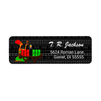 Kinara for Kwanzaa with Black Pattern w/ Unity Cup Label