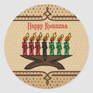 Kinara, Happy Kwanzaa Classic Round Sticker