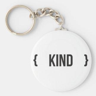 Kind - Bracketed - Black and White Basic Round Button Keychain