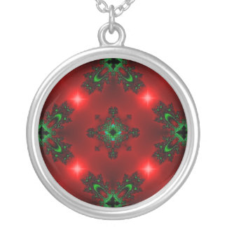 Kind Deco in Retro styles green red with asterisks Round Pendant Necklace