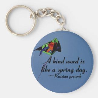 Kind words to brighten a day basic round button keychain