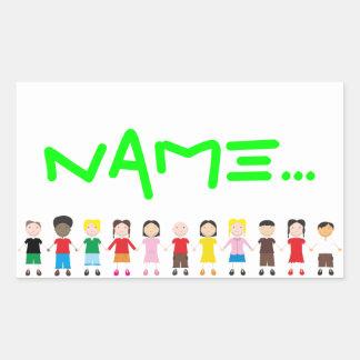 Kinder/Children/Niños Rectangular Stickers