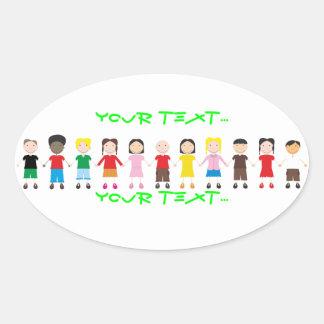 Kinder/Children/Niños Oval Sticker