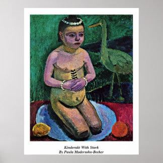 Kinderakt con la cigüeña de Paula Modersohn-Becker Póster