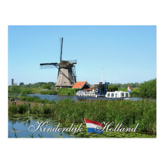 Kinderdijk Windmill and Boat Holland Postcard