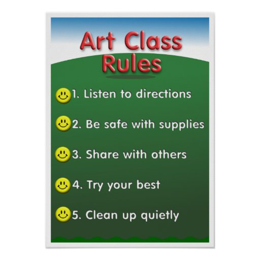 Kindergarten art class rules poster