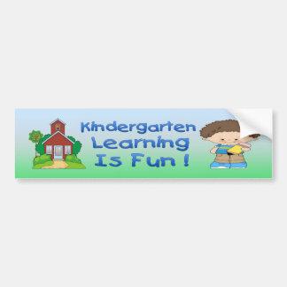 Kindergarten Boy Learning is Fun Bumper Sticker
