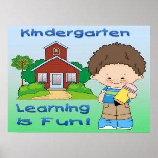 Kindergarten Boy Learning is Fun Poster/Print