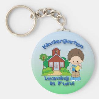 Kindergarten Boy Learning is Fun Round Key Chain